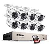 ZOSI Full HD 1080P PoE Video Security Cameras System,8CH 1080P Surveillance NVR, 8x2.0 Megapixel Outdoor Indoor Weatherproof IP Cameras, 120ft Night Vision with 2TB Hard Drive, Power over Ethernet