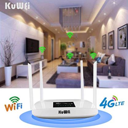 KuWFi-4G-LTE-CPE-Wireless-WiFi-Internet-Router-300Mbps-Unlocked-with-SIM-Card-Slot-with-4pcs-Antenna-for-CAUSAMX-and-a-Few-Central-American-Countries-Not-for-Verizon-SIM-Card