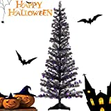 Joy&Leo 5 Foot Spider Sequin Black Tinsel Halloween Tree, Collapsible, Easy to Assemble, for Small Spaces & Apartment & Fireplace & Party & Home & Office & Store & Classroom & Halloween Decorations