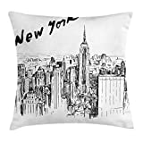 Ambesonne New York Throw Pillow Cushion Cover, Vintage Hand Drawn Urban Scenery with Skyscrapers Sketch Style Downtown, Decorative Square Accent Pillow Case, 18 X 18 Inches, Charcoal Grey White