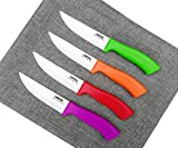 Steak Knives Set of 4, Ceramic Knife Blade - Utility Knife - Healthy,Stain Resistant & Rust Proof - BBQ Knife - Dishwasher Safe - Premium Kitchen Table Knife Set 4.5'' Dinner Knives Non Serrated UMOGI