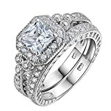 Newshe Vintage Bridal Set Princess White Cz 925 Sterling Silver Wedding Engagement Ring Set Size 9