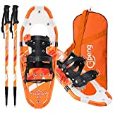 "Gpeng Lightweight Snowshoes for Women Men Youth Kids, Aluminum Terrain Snow Shoes with Trekking Poles and Carrying Tote Bag?14""/21""/25""/27""/30"""