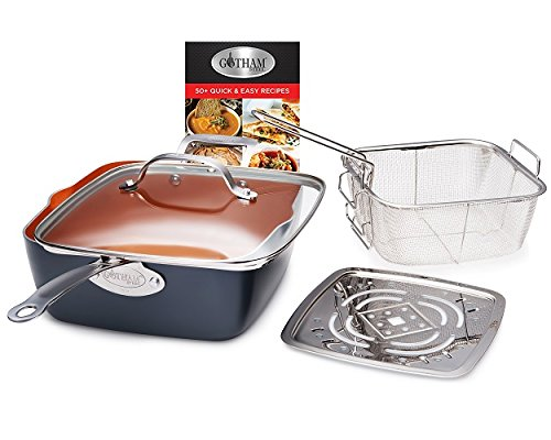 "Gotham Steel Titanium Ceramic 9.5"" Non-Stick Copper Deep Square Frying & Cooking Pan With Lid"
