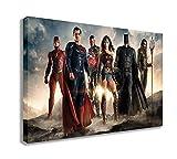 "JUSTICE LEAGUE 2017 MOVIE SUPERMAN BATMAN WONDER WOMAN FLASH AQUAMAN CYBORG CANVAS WALL ART (30"" X 18"" / 75 X 45cm)"