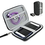 USA Gear Hard Shell iPod Travel Case Compatible with Apple iPod Touch (6th Generation, 5th Generation), MP3 Player Case with Weather Resistant and Water-Proof Exterior, Wrist Strap - Polka Dot