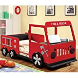 Product review for Metal Finish Fire Truck Design Youth Twin Size Bed Frame