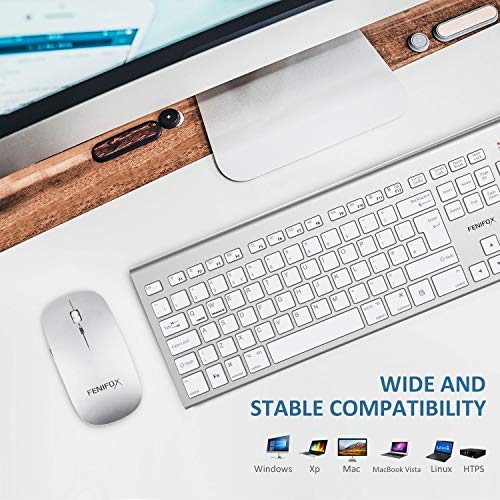51E5XKHI72L - FENIFOX Wireless Keyboard & Mouse, Dual System Switching Double Ergonomic 2.4G USB QWERTY Full Size UK Layout for Computer PC Mac imac Laptop Windows 10 8 7 Xp (Silver & White)