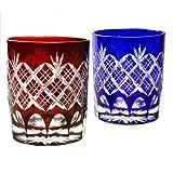 Pair of Red And Blue Double Old Fashioned Glasses 9.4Oz Edo Kiriko Design Cut Glass Kasane Yarai - Pair [Japanese Crafts Sakura]