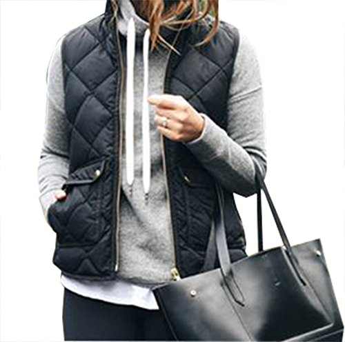 Yi Xian Women's Stand Collar Warm Padded Zip Closure Side Pockets Gilet Quilted Puffer Vest (US 8 (L), Black)