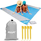 OUSPT Beach Blanket, Sand Free Picnic Outdoor Mat- Large 6.6' x 6.9' /6.6' x 8.2' - Pocket Zippered Portable Waterproof Soft Fast Drying Nylon Oversize Blanket for Travel Camping Hiking (Rainbow)