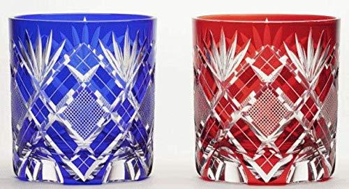 Japanese Edo-Kiriko (Cut Glass) Old Pair 9.3oz, Kenbishi-Nanako Pattern,Red & Blue