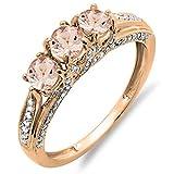 14K Rose Gold Round Morganite & White Diamond Ladies Vintage Bridal 3 Stone Engagement Ring (Size 8)