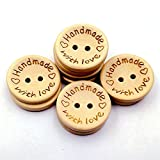 100pcs Wooden Handmade with Love Round Crafts Decor 2 Holes Wooden Sewing Buttons,15MM