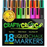 Crafty Croc Liquid Chalk Markers, Jumbo 18 Pack, (Mom's Choice Award Gold Recipient), Neon Plus Earth Colors 6mm Reversible Tip, 2 Replacement Tips Included