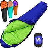 800 Fill Power Goose Down Sleeping Bag for Backpacking – Eolus 15/30 Degree F Ultralight, Down Filled 3 Season Men's and Women's Lightweight Mummy Bags (30 Degree - Blue/Lime Green, Short)