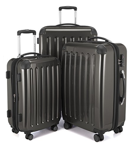 HAUPTSTADTKOFFER Luggages Sets Glossy Suitcase Sets Hardside Spinner Trolley Expandable (20', 24' & 28') TSA (Graphite)