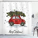Ambesonne Christmas Shower Curtain, Red Retro Style Car Xmas Tree Vintage Family Style Illustration Snowy Winter Art, Cloth Fabric Bathroom Decor Set with Hooks, 70