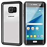 Lanwow S7 Edge Waterproof Case Support Wireless Charging Built in Curved Screen Protector Rugged Shockproof Transparent Cover Waterproof Case for Samsung Galaxy S7 Edge (5.5inch)-Classic Black