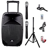 PRORECK FREEDOM 15 Portable 15-Inch 800 Watt 2-Way Rechargeable Powered Dj/PA Speaker System with Bluetooth/USB/SD Card Reader/FM Radio/Remote Control/Wireless Microphones/Speaker Stand