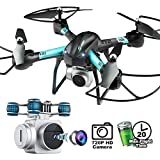 20 Mins Long Flight Time,Dwi Dowellin FPV Drone with Camera 720P HD WiFi Live Video RC Quadcopter with Voice Control, Altitude Hold, Gravity Sensor Function Helicopter for Kids Beginners Adults