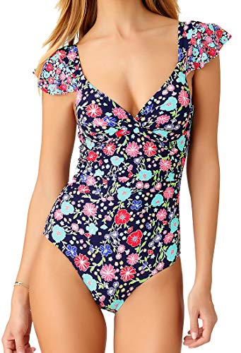 71Nz6s3K5TL Sexy One Piece Bathing Suit with Sweetheart Style Neckline Ruffled Short Cap Sleeves Design Straps Wear Over the Shoulders, Also Hooks at the Back