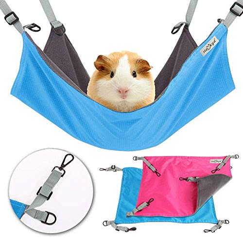 Metacrafter Pet Hammock Hamster Hanging Toy, Small Pet Pad Bed for Guinea Pig,Chinchilla,Kitten,Cat,Ferret,Mice,Rabbit,Squirrel Playing Cozy Spot-Waterproof Reversible 2 Sides -Use with Crate or Cage