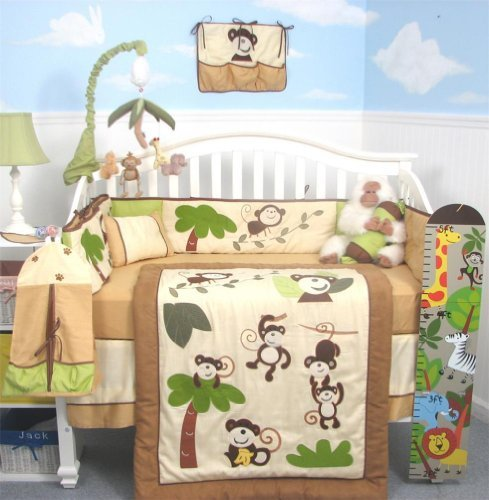 SoHo Curious Monkey Crib Bedding Set 13 pcs