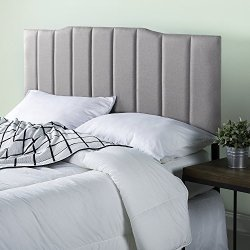 Zinus Satish Upholstered Channel Stitched Headboard in Light Grey, Full