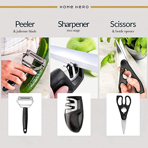 Home Hero 17 Pieces Kitchen Knives Set, 13 Stainless Steel Knives + Acrylic Stand, Scissors, Peeler and Knife Sharpener ( Stainless Steel Blades ) 17