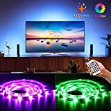 Bason Led Strip Lights, USB Powered Led TV Backlight for HDTV,20 Color Options Led Strips(16 Static Colors&4 Dynamic Modes) Sync Switch On/Off with TV, Dimmable with Remote Control for Room Decoration