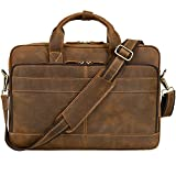 Jack&Chris Men's Genuine Leather Briefcase Messenger Bag Attache Case 14' Laptop, MB005B