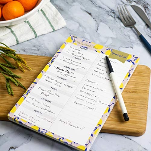 """Oriday Weekly Magnetic Meal Planner Notepad with Tear Off Perforated Grocery Shopping List Checklist for Fridge Door, Kitchen - 52 Sheets, 6"""" X 9"""" - Perfect for Weekly Diet Prep (Menu Planning Pad) 5"""