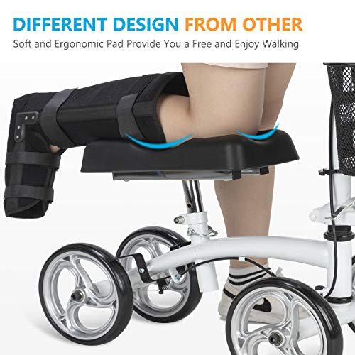OasisSpace Small Size Lightweight Knee Scooter Walker,Compact and Portable Knee Walker Crutches Alternative for Foot Injuries Support up to 250LBS (White) deal 50% off 51EUqyUwn9L