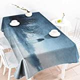 VIVIDX Small Rectangular Tablecloth,Horror House Mysterious Women in Foggy Forest Bushes Nightmare Haze Lady Scary Hell Work of Art,Fashions Rectangular,W54x72L, Blue