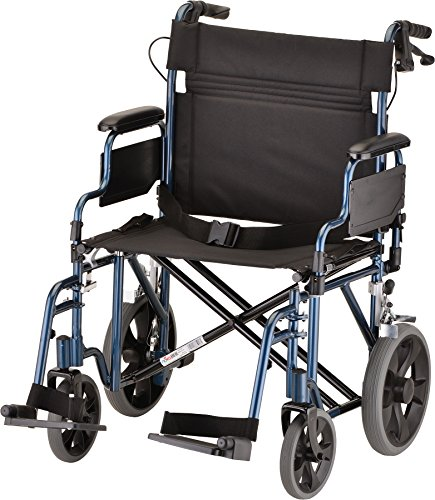 "NOVA Extra Wide 22"" Heavy Duty Transport Chair with Locking Hand Brakes, Removable & Flip Up Arms for Easy Transfer, 400 lb Weight Capacity, Blue"