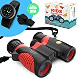 Real Binoculars for Kids high Resolution 8x21 with Adjustable Neck Strap - Includes Kids Compass Bracelet and Whistle - Great Gift for Girls and Boys 3-14 Years Old