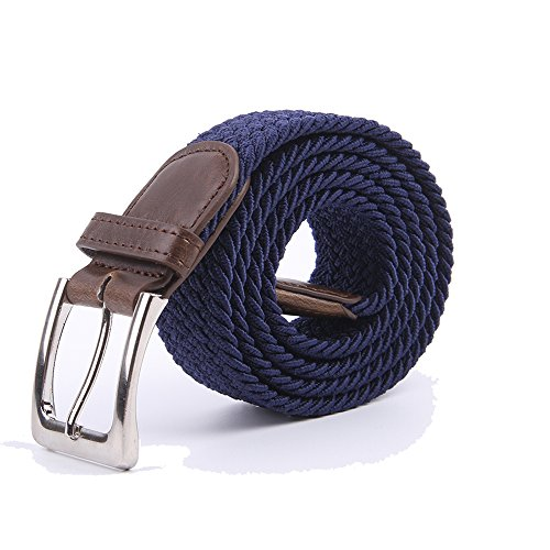 Canvas Elastic Fabric Woven Stretch Multicolored Braided Belts 2041-NavyBlue-L