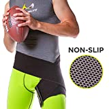 BraceAbility Hip Brace & Groin Strain Wrap | Non-Slip Hamstring & Thigh Compression Support Spica for Pulled Quad Muscle, Arthritis Relief, Inguinal Hernia or Abduction Hip Flexor Injury (One Size)