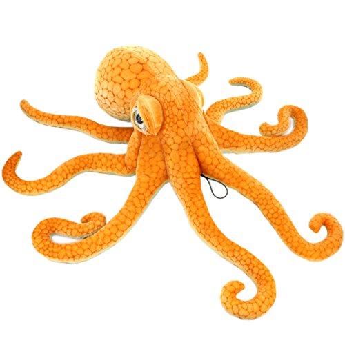 JESONN Giant Realistic Stuffed Marine Animals Soft Plush Toy Octopus Orange,33.5 Inch or 85 cm,1PC