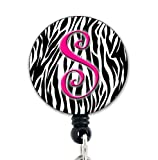 S Initial Zebra Pink - Retractable Badge Reel with Swivel Clip and Extra-Long 34 inch Cord - Badge Holder