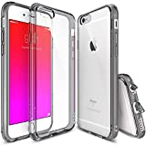 Ringke Fusion Compatible with iPhone 6S Case, Clear PC Back & TPU Bumper Drop Protection with Dust Caps for iPhone 6 - Smoke Black