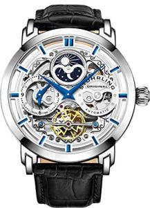 Stuhrling Original 371.01 Men's Legacy Automatic Self Wind Genuine Leather Strap Watch, Black
