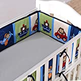 Wowelife Baby Crib Bumpers Blue Breathable Baby Bed Bumper Pads 4 Piece Cars and Plane for Baby Boys and Girls(Blue Airplane)
