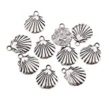 Dutch Brook Women's 10 Pcs/Set Silver Plated Sea Shell Shape Charm Pendants