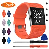 KingAcc Fitbit Surge Bands, Silicone Accessory Replacement Band for Fitbit Surge, with Metal Buckle Fitness Wristband Strap WatchBand Women Men (1-Pack, Orange/Tangerine, Large)