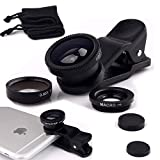 I-Sonite (Black) Mobile Phone Universal Camera Lens 3 in 1 Kit Wide Angle + Fisheye + Macro Lens For Samsung Galaxy S9 Plus