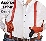 Aysesa Rig for Glock 19 Shoulder Holster Leather Fits Pistols 9mm 40 45 Concealed Carry Gun Fits: Glock G19 23 26 32 43 H&K VP9 Springfield XD XDS Sig Sauer p238 S&W 457 Walther PPQ Beretta Brown