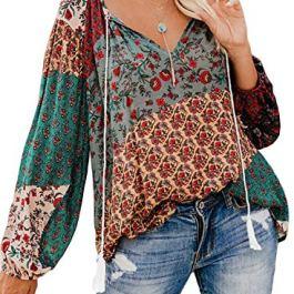FARYSAYS Women's Casual Boho Floral Print V Neck Long Sleeve Shirts Tops Loose Blouses