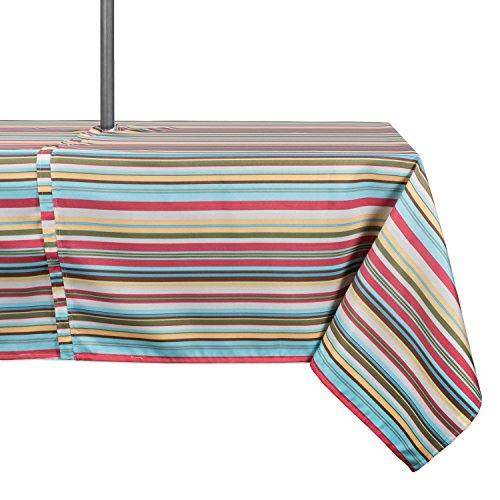 DII Spring & Summer Outdoor Tablecloth, Spill Proof and Waterproof with Zipper and Umbrella Hole, Host Backyard Parties, BBQs, & Family Gatherings - (60x84' - Seats 6 to 8) Warm Summer Stripe